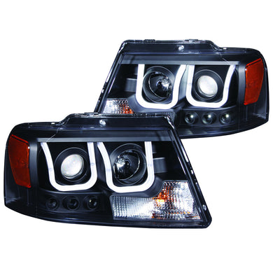 Anzo Projector Headlights Ford F150 [U-Bar Halo] (2004-2008) Black or Chrome