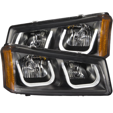 Anzo Crystal Headlights Chevy Silverado / Avalanche [U-Bar Halo] (03-06) Chrome or Black