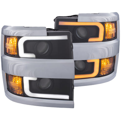 Anzo Projector Headlights Chevy Silverado 2500HD/3500HD [Plank Style] (15-19) Black or Chrome