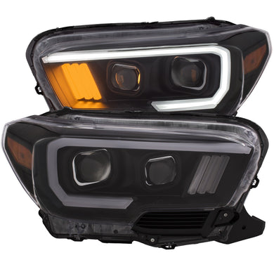Anzo Projector Headlights Toyota Tacoma [Plank Halo w/ DRL] (16-18) Black or Chrome