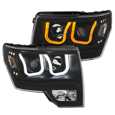 Anzo Projector Headlights Ford F150 [U-Bar Halo / Switchback] (09-14) Black