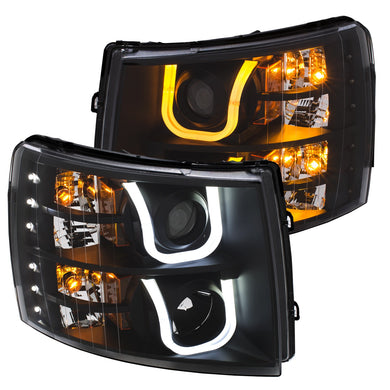 Anzo Projector Headlights Chevy Silverado 1500 (07-13) 2500HD/3500HD (07-14) [U-Bar / Switchback] Black