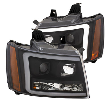 Anzo Projector Headlights Tahoe/Suburban/Avalanche [Plank Style w/ Amber] (07-14) Black or Chrome