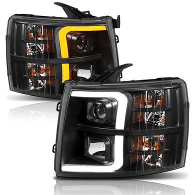 Anzo Projector Headlights Silverado 1500/2500/3500/Hybrid (07-13) [Plank Style / Switchback] Black or Chrome