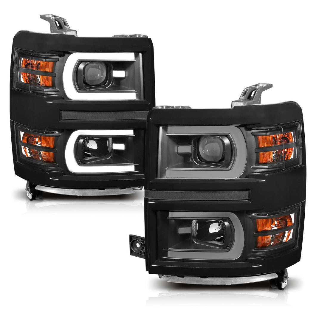 Anzo Projector Headlights Silverado 1500 (2014-2015) [Plank Switchback] Black or Chrome