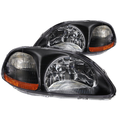 Anzo Crystal Headlights Honda Civic EK (96-98) Black / Chrome / Gun Metal Housing
