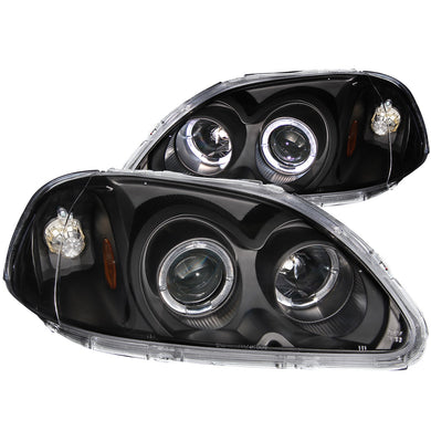 Anzo Projector Headlights Honda Civic EK (96-98) [w/ LED Halo] Black or Chrome Housing