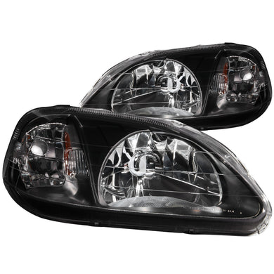 Anzo Crystal Headlights Honda Civic EK (99-00) Black / Chrome / Gun Metal Housing