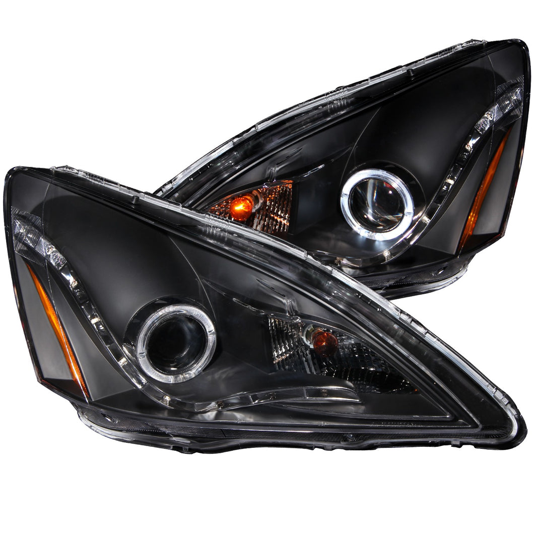 Anzo Projector Headlights Honda Accord 2/4 Dr (03-07) Hybrid (05-07) [R8 Style Halo] Black