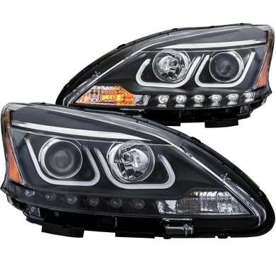 Anzo Projector Headlights Nissan Sentra (13-15) [w/ U-Bar Halo - Black Housing] 121487