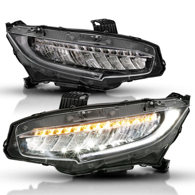 Anzo LED Projector Headlights Honda Civic Sedan (16-17) [Sequential Signal Light] 121527