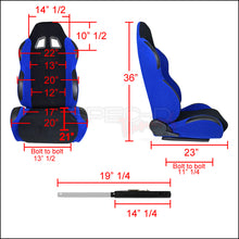Load image into Gallery viewer, Spec-D Racing Seats [JDM Bride Style - Black/Blue Cloth - Pair) RS-504-2