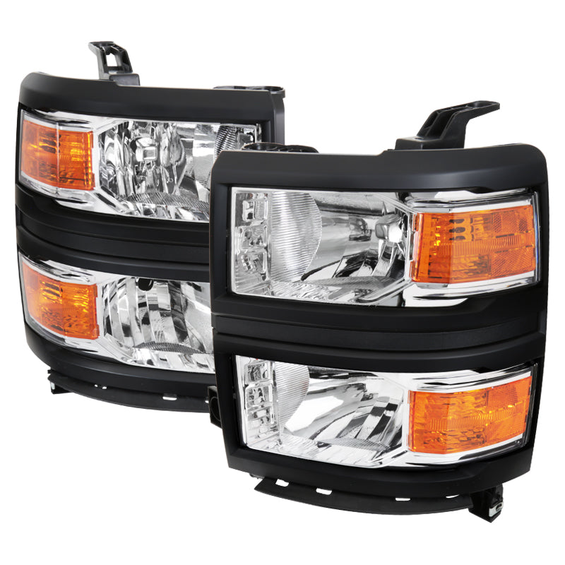 Spec-D OEM Replacement Headlights Chevy Silverado (2014-2015) Chrome / Black