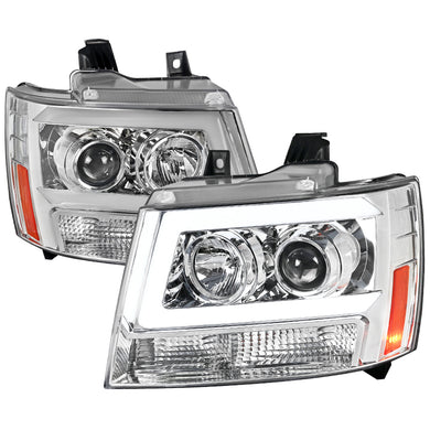 Spec-D Projector Headlights Tahoe / Avalanche / Suburban [Light Bar] (07-13) Black / Chrome
