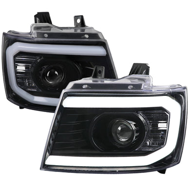 Spec-D Projector Headlights Tahoe / Avalanche / Suburban [DRL C-Light Bar] (07-13) Black / Chrome