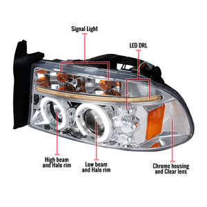 Spec-D Projector Headlights Dodge Dakota (97-04) Durango (98-03) Halo or SMD LED Strip - Black or Chrome