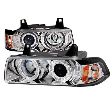 Spec-D Projector Headlights BMW E36 Sedan [Halo LED] (92-98) Black or Chrome