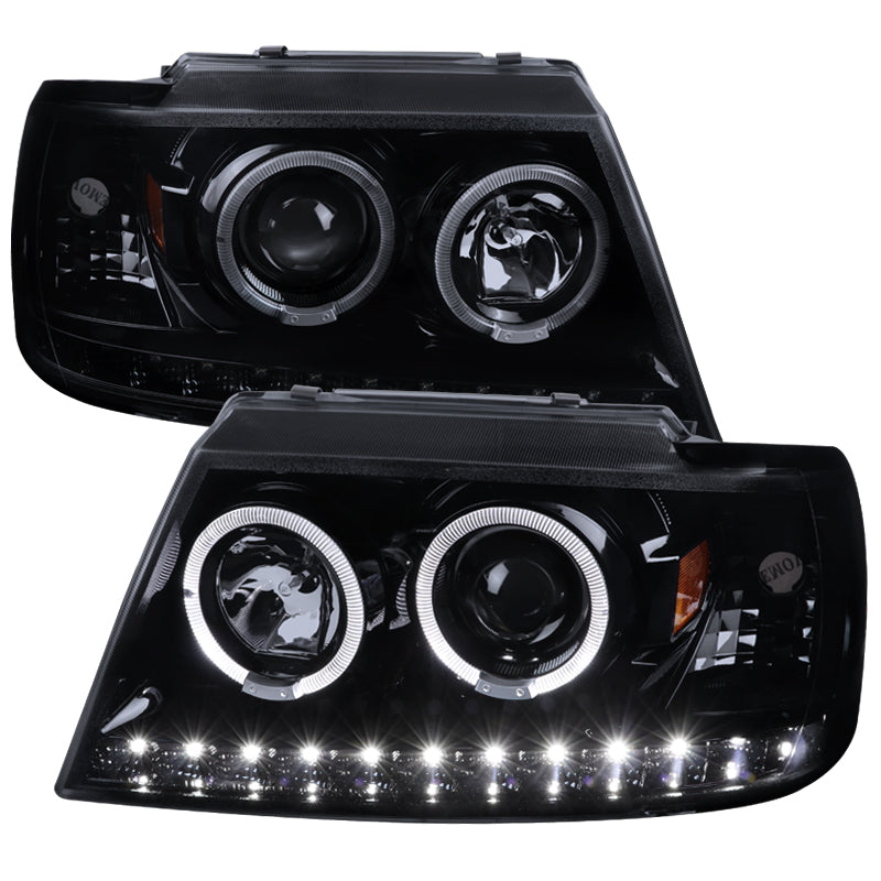 Spec-D Projector Headlights Ford Explorer [Dual Halo LED] (2002-2005) Black / Smoke / Chrome