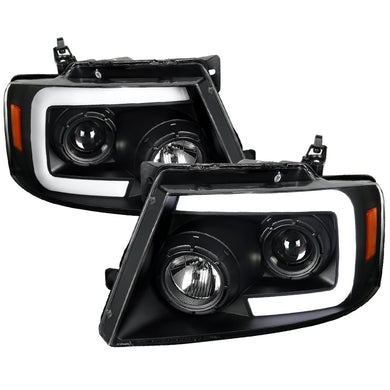 Spec-D Projector Headlights Ford F150 [Sequential LED] (04-08) Black / Smoke Tint / Chrome