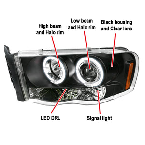 Spec-D Projector Headlights Ram 1500 (02-05) Ram 2500/3500 (03-05) [Halo LED] Black / Chrome / Smoked