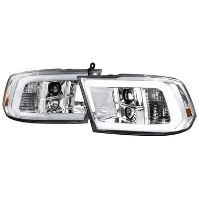 Spec-D Projector Headlights Dodge Ram [C-Bar LED] (2009-2018) Black or Chrome