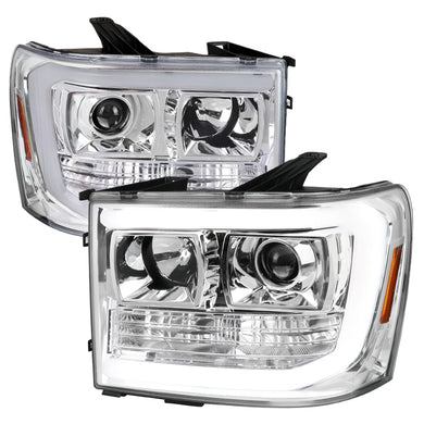 Spec-D Projector Headlights GMC Sierra 1500 (2007-2013) [LED DRL] Black / Chrome / Smoke