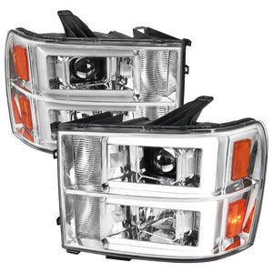 Spec-D Projector Headlights GMC Sierra [C Light Bar] (2007-2013) Black Housing