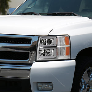 Spec-D Projector Headlights Chevy Silverado [C-Bar LED DRL] (07-13) Black / Chrome