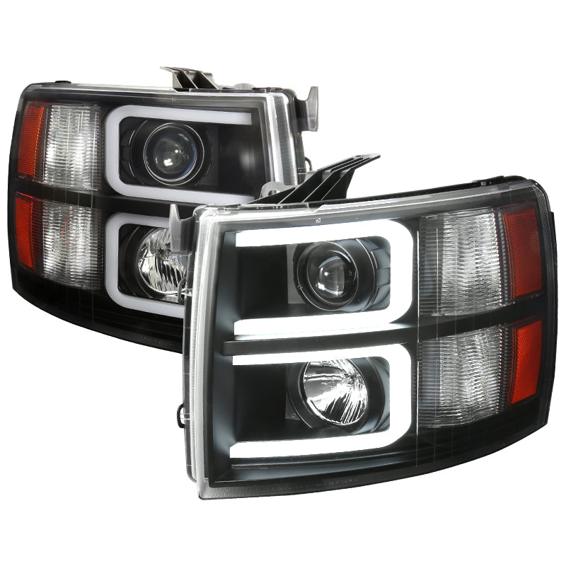 Spec-D Projector Headlights Chevy Silverado (07-13) LED C-Bar DRL - Black / Chrome