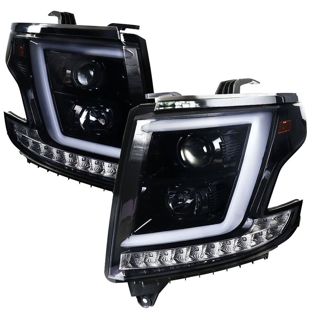 Spec-D Projector Headlights Chevy Suburban/Tahoe (2015-2020) w/ C-bar LED DRL - Black or Chrome