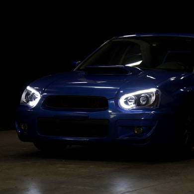 Spec-D Projector Headlights Subaru WRX/STi [LED Bar] (2004-2005) Black / Tinted / Chrome