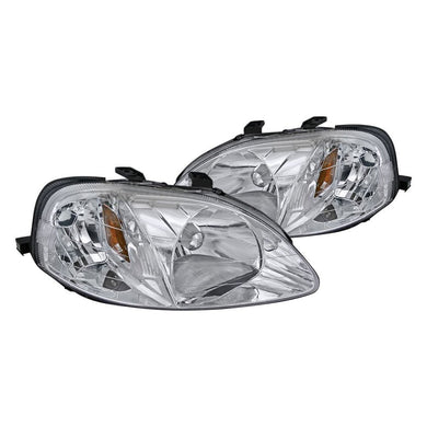 Spec-D OEM Replacement Headlights Honda Civic EK [JDM Euro] (99-00) Black or Chrome