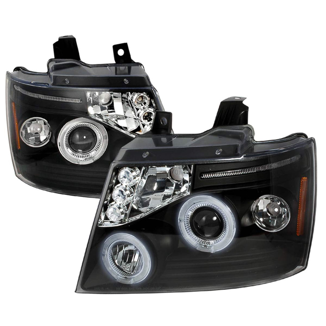 Spec-D Projector Headlights Chevy Tahoe / Avalanche [Dual Halo LED] (07-13) Black Housing