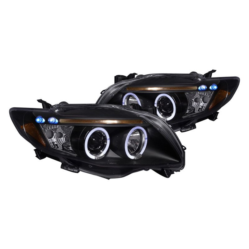 Spec-D Projector Headlights Toyota Corolla [LED Dual Halo] (09-10) Black Housing