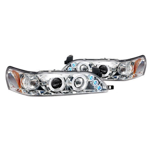 Spec-D Projector Headlights Toyota Corolla [Dual Halo LED] (93-97) Black or Chrome
