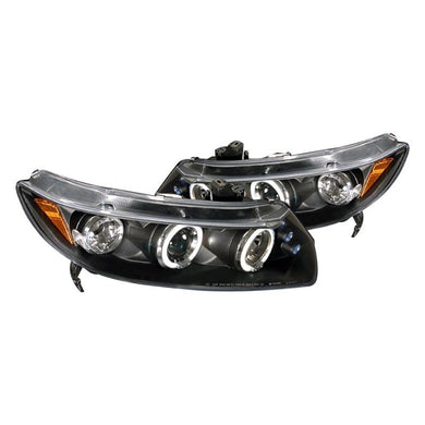 Spec-D Projector Headlights Honda Civic Coupe [Dual Halo] (06-11) Black or Chrome