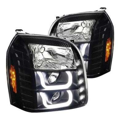 Spec-D Projector Headlights GMC Yukon [LED DRL U-Bar] (2007-2014) Black / Chrome / Tinted