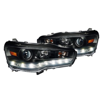 Spec-D Projector Headlights Mitsubishi Lancer & EVO [R8 Style LED] (08-15) Black or Chrome