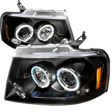 Spec-D Projector Headlights Ford F150 (04-08) Mark LT (06-08) Halo Black / Smoked / Chrome