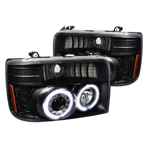 Spec-D Projector Headlights Ford F150 / F250 / F350 / Bronco [Dual Halo] (92-96) Chrome / Black