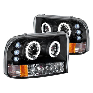 Spec-D Projector Headlights Ford F250 / F350 / F450 [Dual Halo LED] (99-04) Black or Chrome
