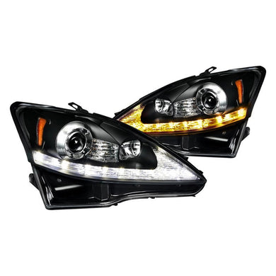 Spec-D Projector Headlights Lexus IS250 / IS350 [DRL LED] (2006-2009) Black or Chrome
