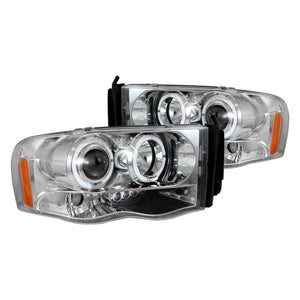 Spec-D Projector Headlights Dodge Ram [Dual Halo LED] (02-05) Black or Chrome Housing
