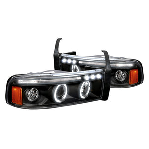 Spec-D Projector Headlights Dodge Ram [Dual Halo] (94-01) Black or Chrome Housing