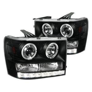 Spec-D Projector Headlights GMC Sierra [Dual Halo] (07-13) Black Housing
