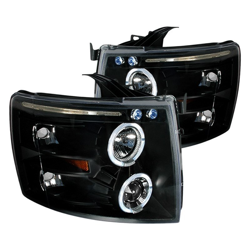 Spec-D Projector Headlights Chevy Silverado [Black] (07-13) Black Housing