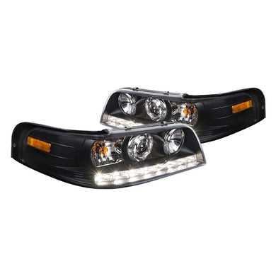 Spec-D Projector Headlights Ford Crown Victoria [w/ LED DRL] (1998-2011) Black or Chrome