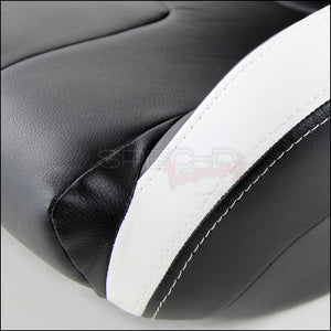 Spec-D Racing Seats [Black/White - BRAUM Style - Pair) PVC Leather