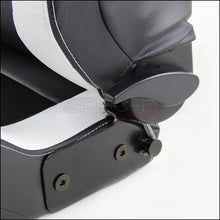 Load image into Gallery viewer, Spec-D Racing Seats [Black/White - BRAUM Style - Pair) PVC Leather