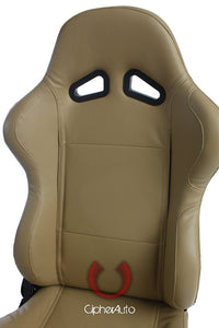 Cipher Auto Leatherette Seats (Tan - Sold as a Pair - Reclining) CPA1001PBG